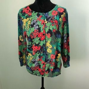 Talbots floral button down cardigan 100% cotton M